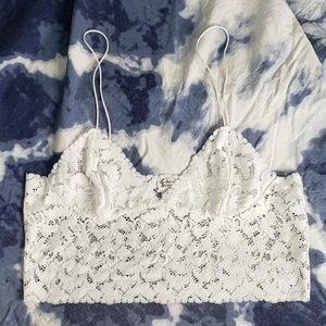 Intimately free people white lace longline bra